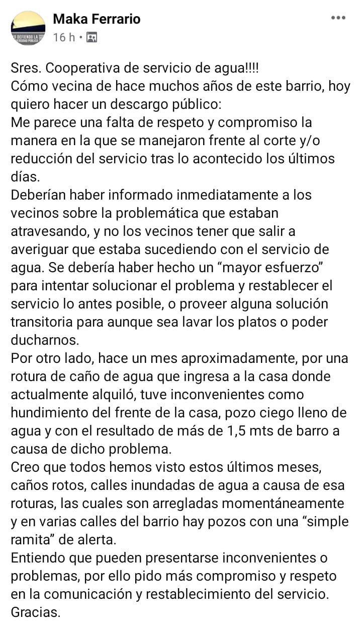 RECLAMO VECINOS